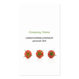 Modern Elegant Tomato Photo Personal Chef Pack Of Standard Business Cards