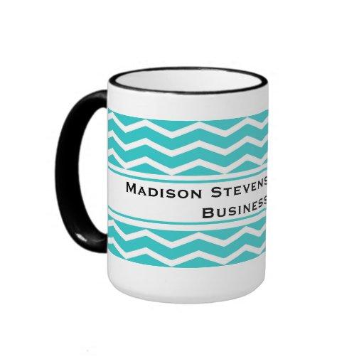 Modern Elegant Turquoise Zig Zag Mugs