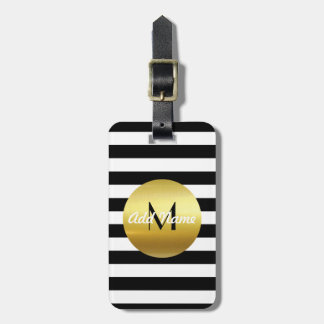 Modern Elegant White, Black & Gold  - Monogram Luggage Tag