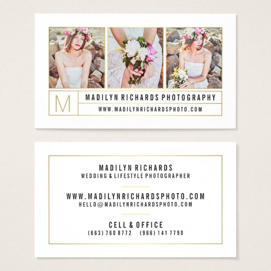 Modern elegant white chic gold lines photography business