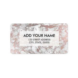 Modern elegant white faux rose gold marble label
