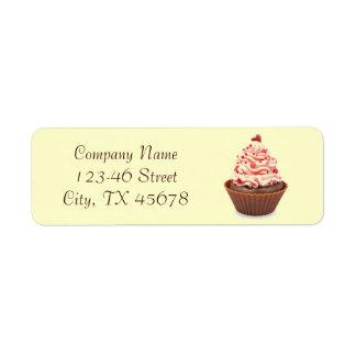 modern elegant yellow pink cupcake business return address label