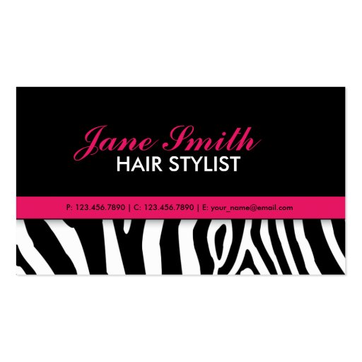 Modern Elegant Zebra Print Professional Stylish Business Card