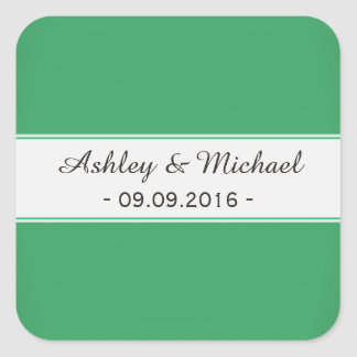 Modern Emerald Green Save the Date Square Sticker