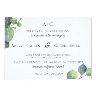 Modern Eucalyptus Leaf Wedding Invitation