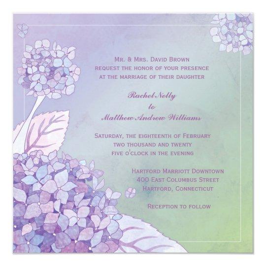 Modern Evening Purple Hydrangea Floral Wedding Card