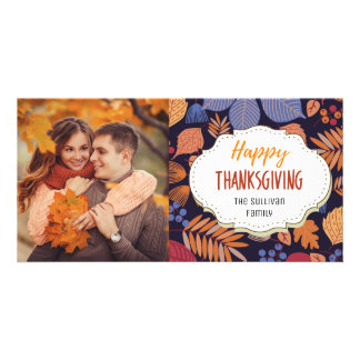 Modern Fall Autumn Thanksgiving Picture Photo Card