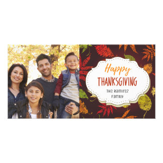 Modern Fall Leaves Thanksgiving Picture Photo Card