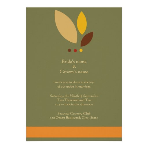 Modern Fall Leaves Wedding Invitation