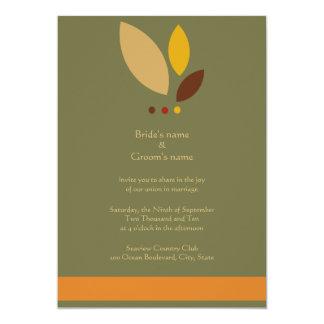 Modern Fall Leaves Wedding Invitation