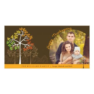Modern Fall Trees Thanksgiving Holiday Photo Card