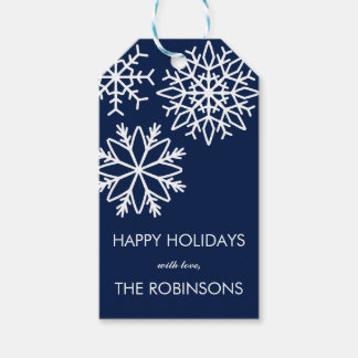 Modern Falling snowflakes  Holiday Blue Gift Tags