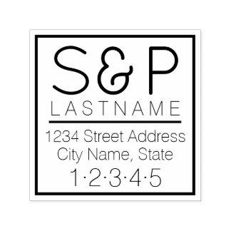 Modern Family Monogram and Return Address Self-inking Stamp