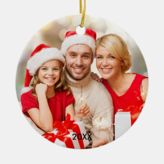 Modern Family Photo Elegant Christmas Ornament