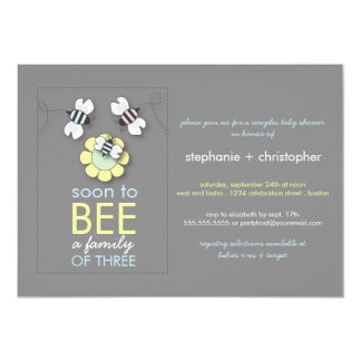 Modern Family to Bee Couples Baby Shower for Boy 13 Cm X 18 Cm Invitation Card