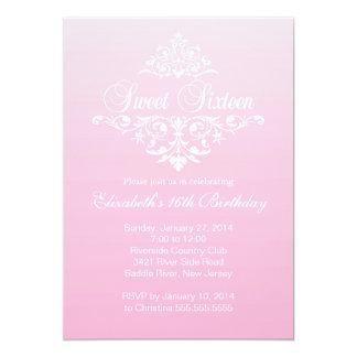 Modern Fancy Pink Sweet Sixteen Birthday Party 13 Cm X 18 Cm Invitation Card