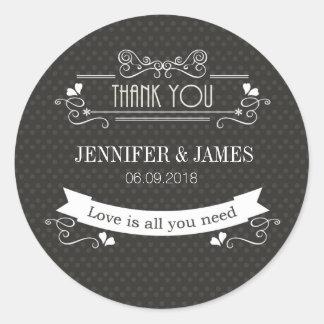 Modern fancy retro wedding sign sticker stickers