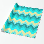 modern fashion girly ombre teal turquoise chevron gift wrapping paper