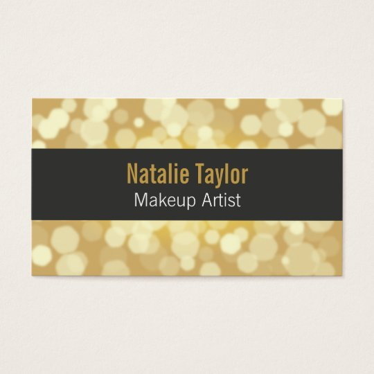 Modern, Fashion, Glamour, Faux Gold, Makeup Artist Business Card