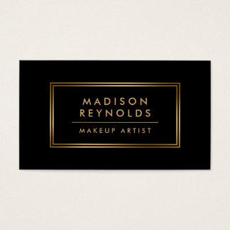 Modern Fashionable Black Gold Frame Makeup Artist Business Card
