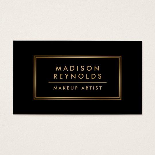 Modern Fashionable Black Gold Frame Makeup Artist Business