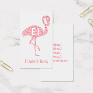 modern faux glitter pink flamingo monogram business card