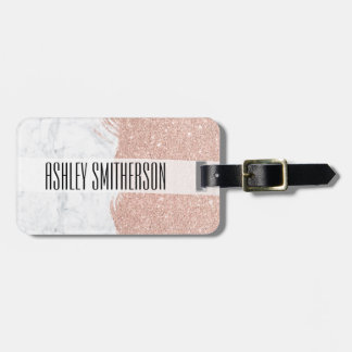 Modern faux glitter rose gold brushstrokes marble bag tag