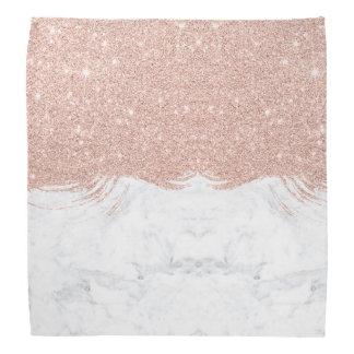 Modern faux glitter rose gold brushstrokes marble bandana