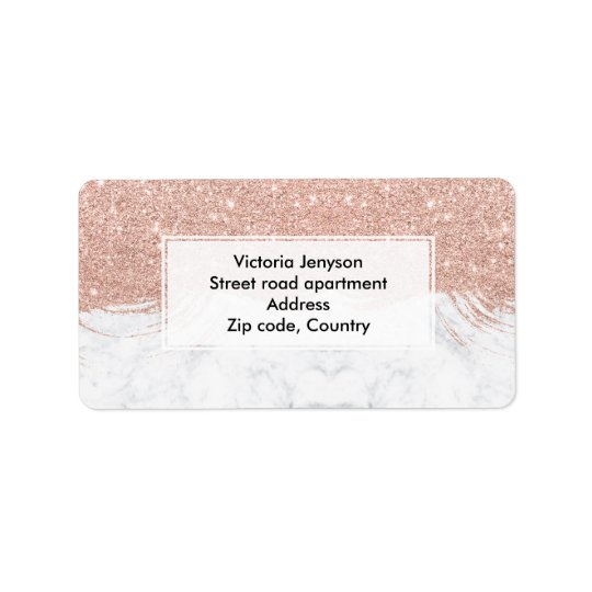 Modern faux glitter rose gold brushstrokes marble label