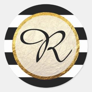 Modern Faux Gold Black White Stripe Monogram Classic Round Sticker