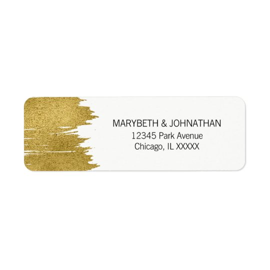 Modern Faux Gold Brushstroke Wedding Address Label