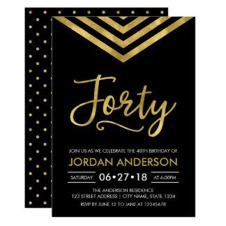 Modern Faux Gold Chevron 40th Birthday Party 13 Cm X 18 Cm Invitation Card