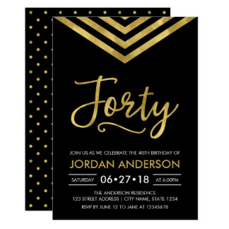 Modern Faux Gold Chevron 40th Birthday Party Card