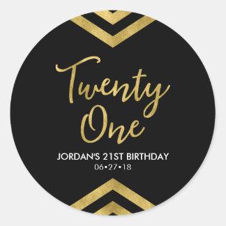 Modern Faux Gold Chevron Geometric 21st Birthday Classic Round Sticker