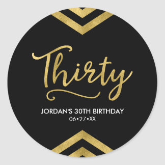 Modern Faux Gold Chevron Geometric 30th Birthday Round Sticker