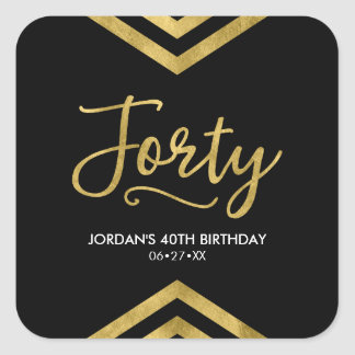 Modern Faux Gold Chevron Geometric 40th Birthday Square Sticker