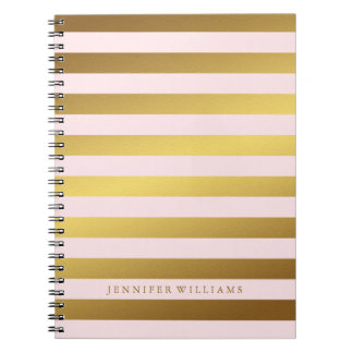 Modern Faux Gold Foil and Pink Stripes Spiral Notebook