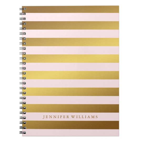 Modern Faux Gold Foil and Pink Stripes Spiral