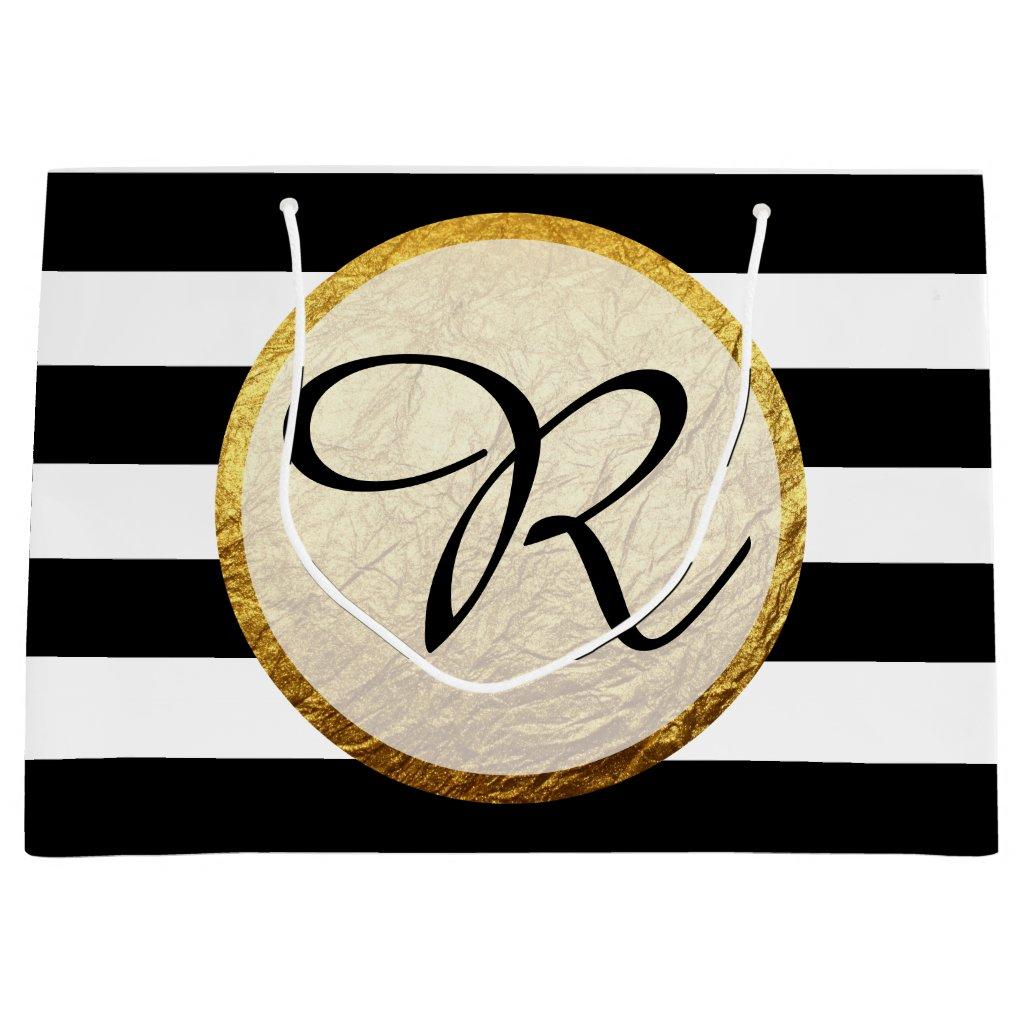 Modern Faux Gold Foil Black White Stripe Monogram