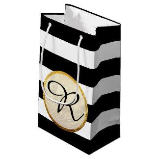 Modern Faux Gold Foil Black White Stripe Monogram Small Gift Bag