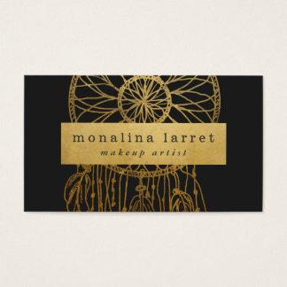 Modern Faux Gold Foil Bohemian Dream Catcher Business Card