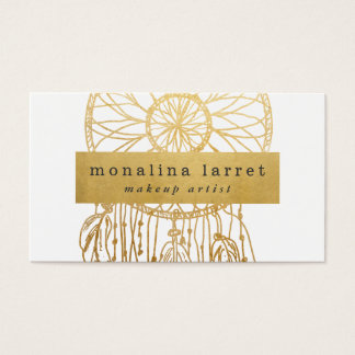 Modern Faux Gold Foil Bohemian Dream Catcher Business Card