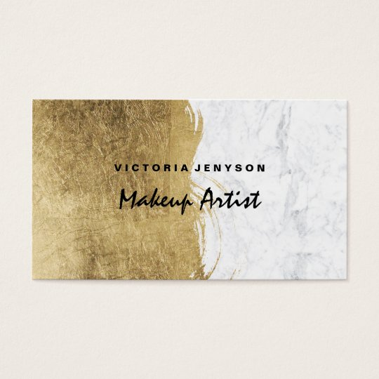 Modern faux gold foil brushstrokes marble Makeup Business