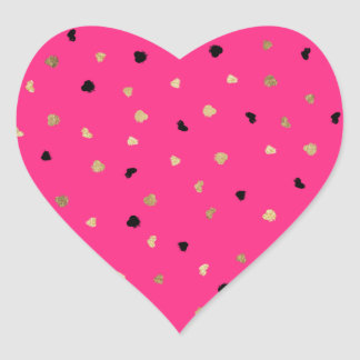 Modern faux gold foil brushstrokes neon pink heart sticker