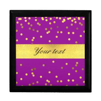 Modern Faux Gold Foil Confetti Purple Large Square Gift Box