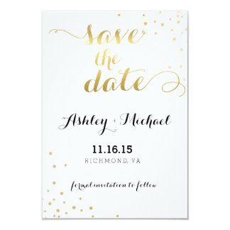 Modern Faux Gold Foil Glamour Save The Date Card