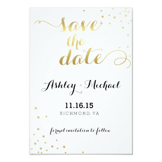 Modern Faux Gold Foil Glamour Save The Date