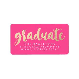 Modern Faux Gold Foil Graduation Address Labels