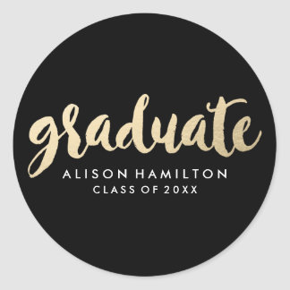 Modern Faux Gold Foil Graduation Classic Round Sticker