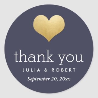 Modern Faux Gold Foil Heart Navy Blue Thank You